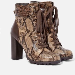 Brand New Adorable Snake Print Lace Up Bootie